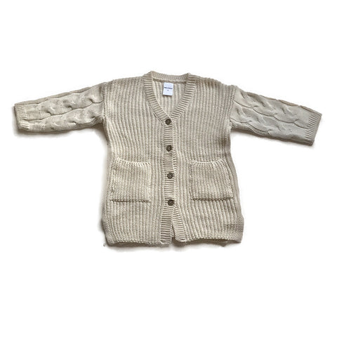 Knit Cotton Sweater Cardigan - Beige