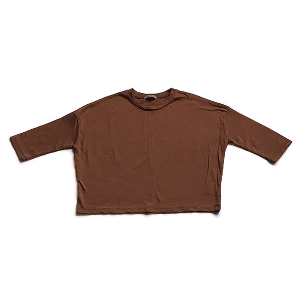 Cotton Wide Long Sleeve Shirt - Brown