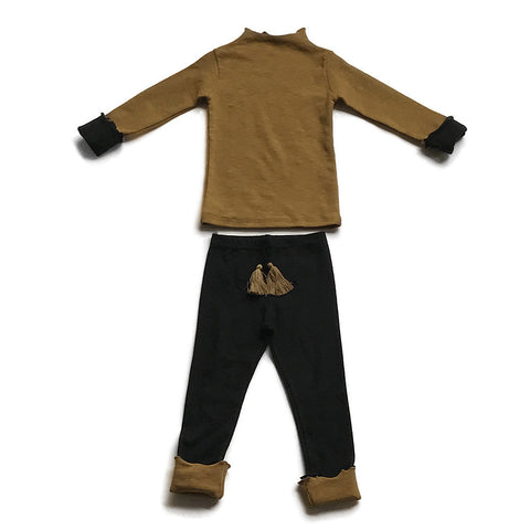 Ruffled Cotton Play Clothes Set - Gold/Black