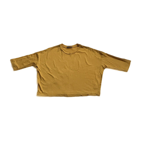 Cotton Wide Long Sleeve Shirt - Gold