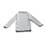 Ruffled Cotton Long Sleeve Shirt - Black on White