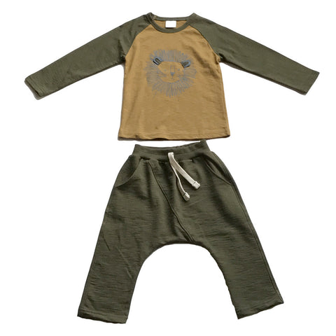 Lion Play Clothes Cotton Set - Army Green/Yellow