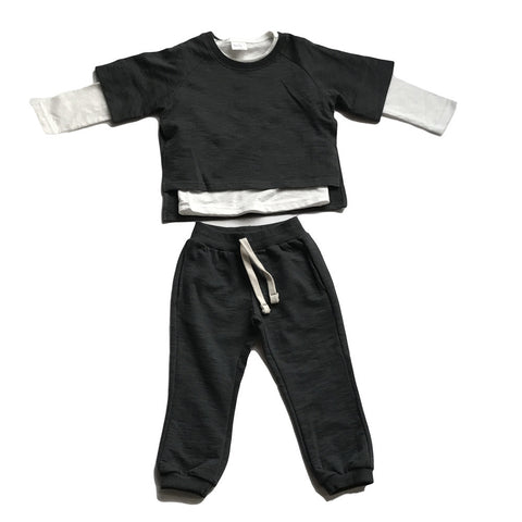 Play Clothes Cotton 3 Piece Set - Dark Grey