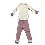 Ruffled Cotton Play Clothes Set - Pink/Ivory