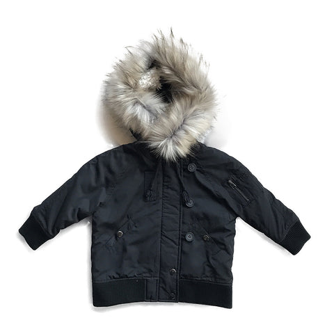 Fur Trimmed Bomber Jacket - Black