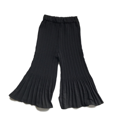 Silky Pleated Swing Pants - Black