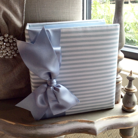 Lady Blue Stripes and Satin Bow Brag Book / Photo Album
