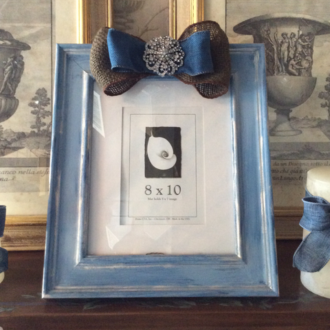Antiqued Wood Frame Blue and Burlap Ribbon - SK Photo Frame - 8x10