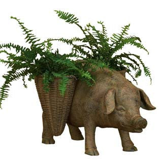 RUSTED IRON RESIN STANDING PIG WITH TWO MARKET BASKET PLANTERS