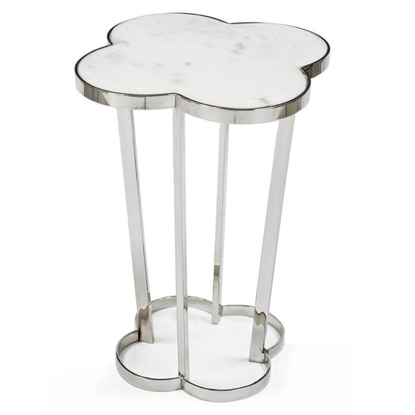 Clover Side Accent Marble and Silver Table
