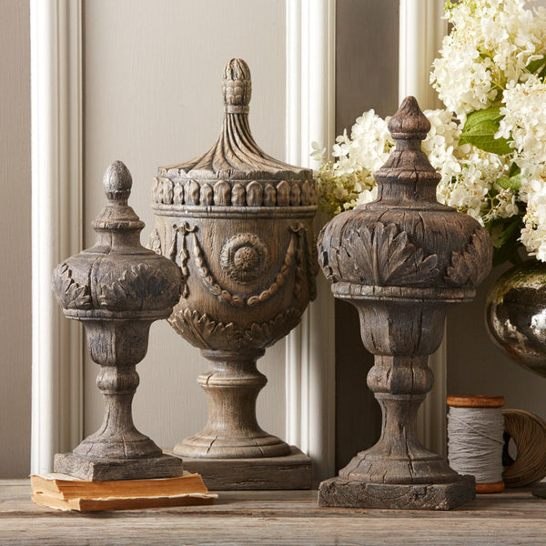 Wooden Antique Finial Decor - Assorted Sizes.