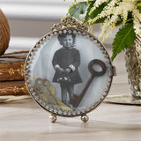 Rosalie Antiqued Curved Photo Frame with Stand - Glass/Brass
