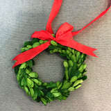 Real Preserved Boxwood Wreath with Plaid Red Ribbon 6""