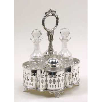 Silver Plated Clover Design - Cruet Set with 4 Bottles