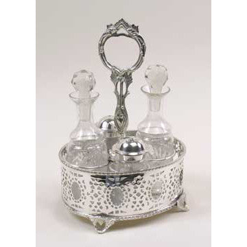 Silver Plated Circle Design - Cruet Set with 4 Bottles
