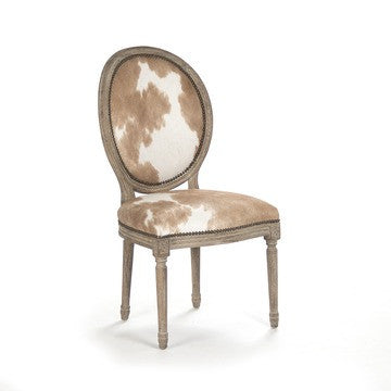 Audric Side Dining Chair - Cowhide on Wood