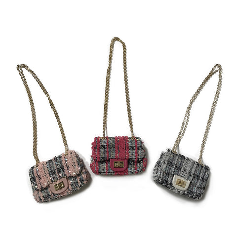Kids Bag - Tweed Chain Link Bag - Assorted