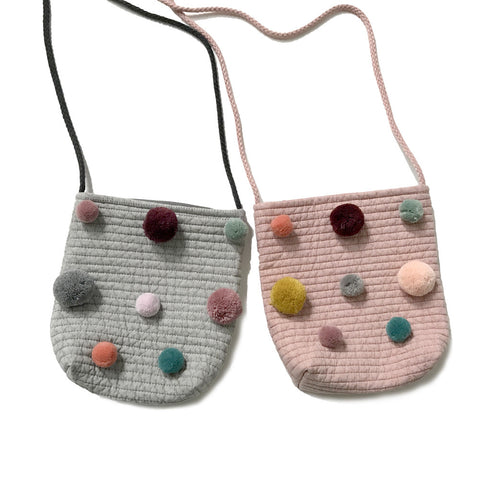 Kids Bag - Quilted Kids Pom Pom Crossbody Bag - Assorted
