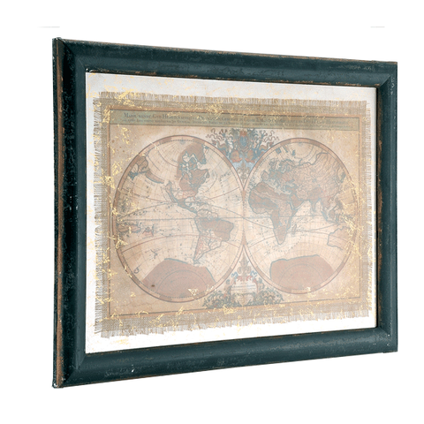 Hemisphere Map Wood Plaque