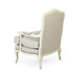 Bastille Love Chair - Linen on White Wood with Nailheads
