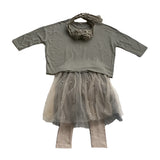 Pearl Studded Tulle Tutu Skirt and Leggings - Khaki/Grey