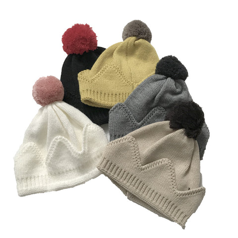 Kids Hats - Wool Crown Hat with Pom Pom - Assorted