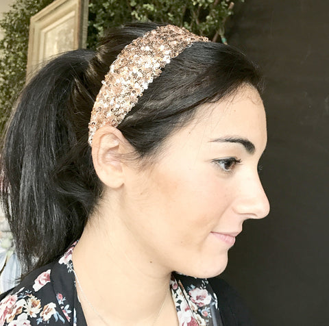 Hairbands - Sequin Fabric Band - Black or Gold