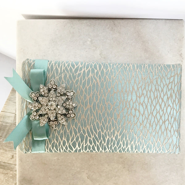 Aqua Leaf Sparkle Brooch Horizontal Brag Book / Photo Album (Small)