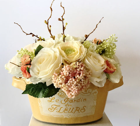 Artificial Floral Arrangement Yellow Planter Container