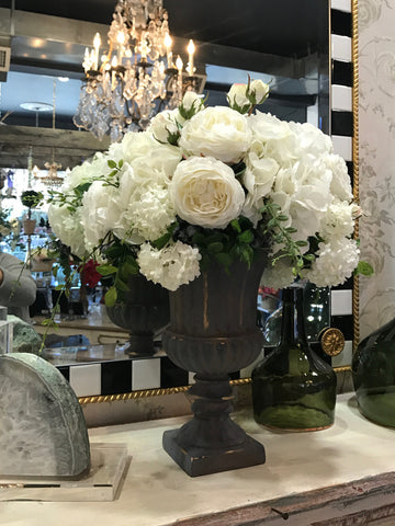 White Silk Floral Arrangement in Urn