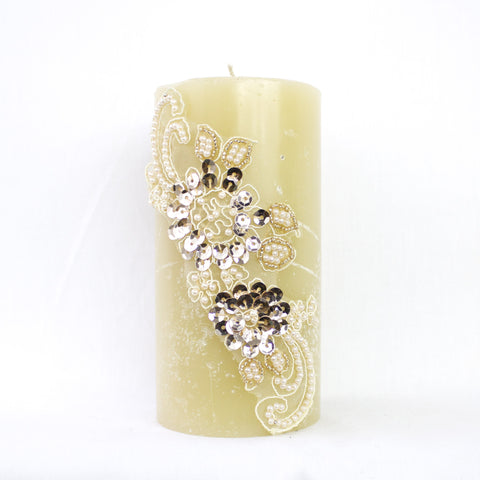 "SK Collection Candle ""Ivory Sequins"""