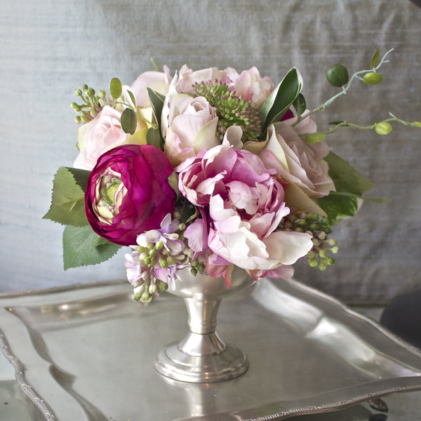 "SK Collection Floral Arrangement II ""Pale Pink Florals in a Silver Le Grand Cafe Goblet"""