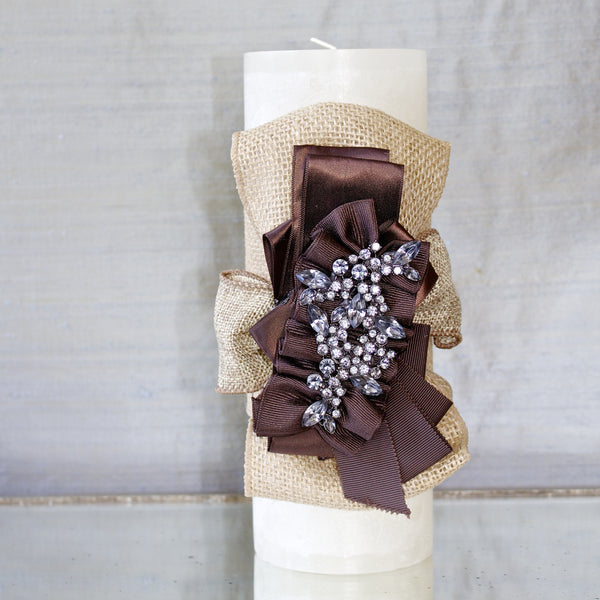 "SK Collection Candle ""Ivory Burlap Ribbon"""