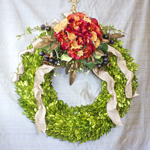 SK Collection Floral Wreath I Orange Hydrangea, Green Boxwood