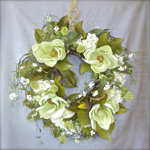 SK Collection Floral Wreath I Pale Green Magnolias
