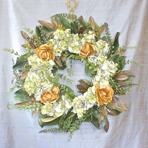 SK Collection Floral Wreath I Yellow Roses & White Hydrangeas