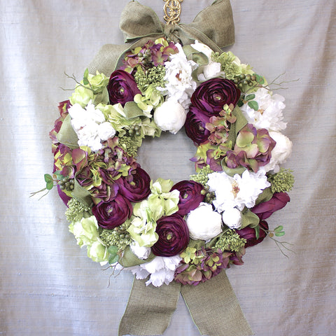 SK Collection Floral Wreath I Purple, White Hydrangea, Rustic Burlap Ribbon