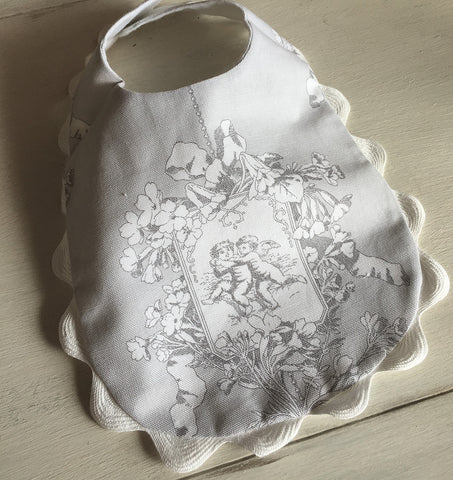 Baby Cotton Handmade Bib (Grey Cherubs)