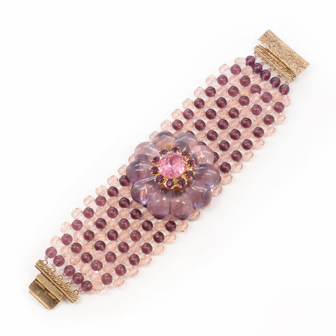Wide Rosette Cuff Bracelet in Rose