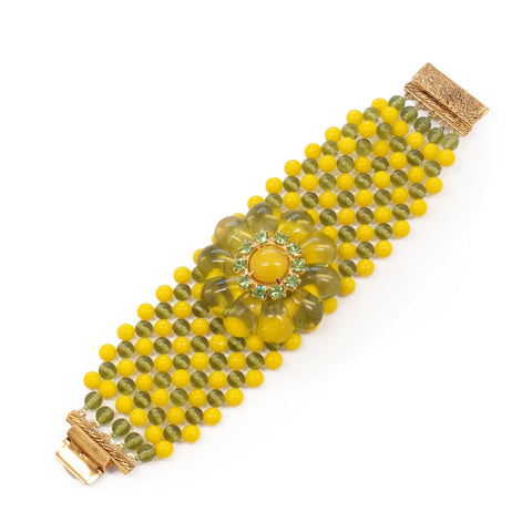 Wide Rosette Cuff Bracelet in Lemon