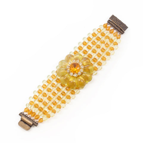 Wide Rosette Cuff Bracelet in Sunshine