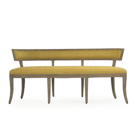 Lorna Bench Chair - Mustard Yellow Linen on Wood with Nailheads