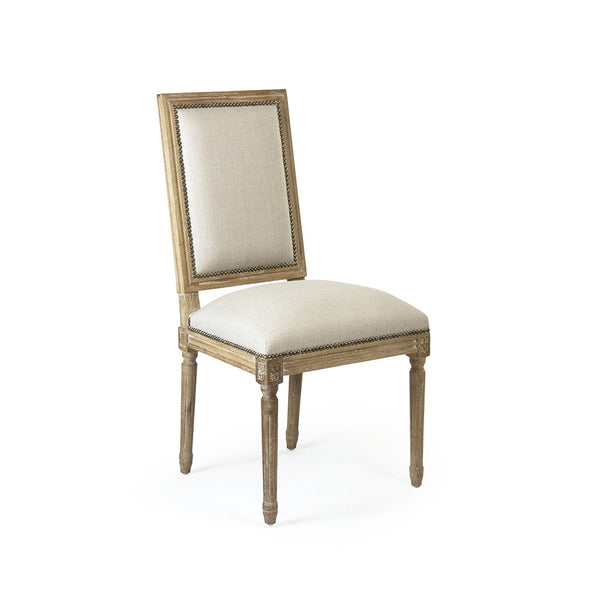 Louis Side Chair - Linen on Wood with Nailheads