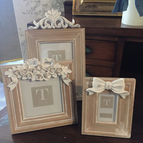 White Washed Photo Frames with Bows
