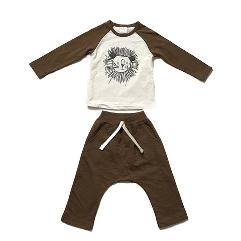 Lion Play Clothes Cotton Set - Brown/ Khaki