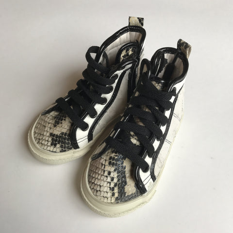 Kids Shoes - Snake Skin High-Top Zipper Side Sneakers