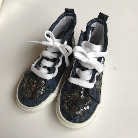 Kids Shoes - Sequin High Top Sneakers with Zipper Side