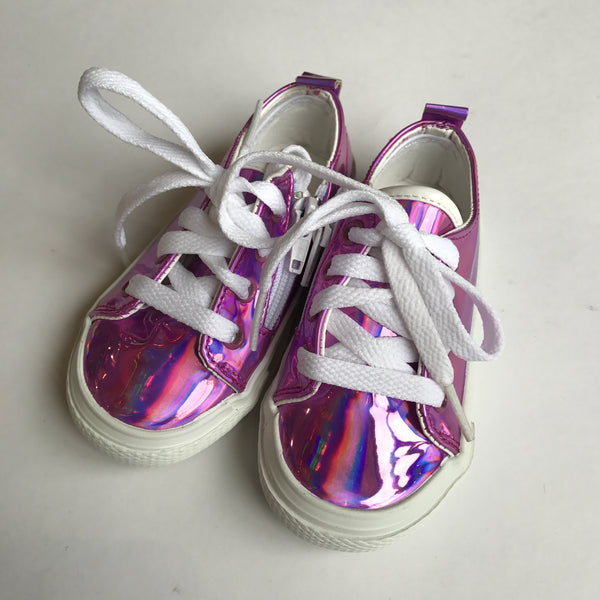 Kids Shoes - Pink Mirror Lace-Up Sneakers