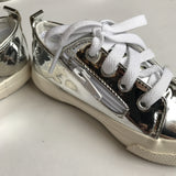 Kids Shoes - Silver Mirror Lace-Up Sneakers