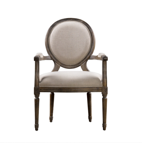 SK Collection Chair | VINTAGE LOUIS BEIGE ROUND ARM CHAIR